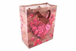 Подарочные пакеты «Цветочное сердце» с атласными ручками 3-2308