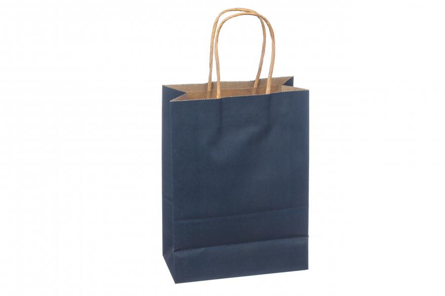 Подарочный пакет однотонный вертикальный (темно-синий) 3-2117