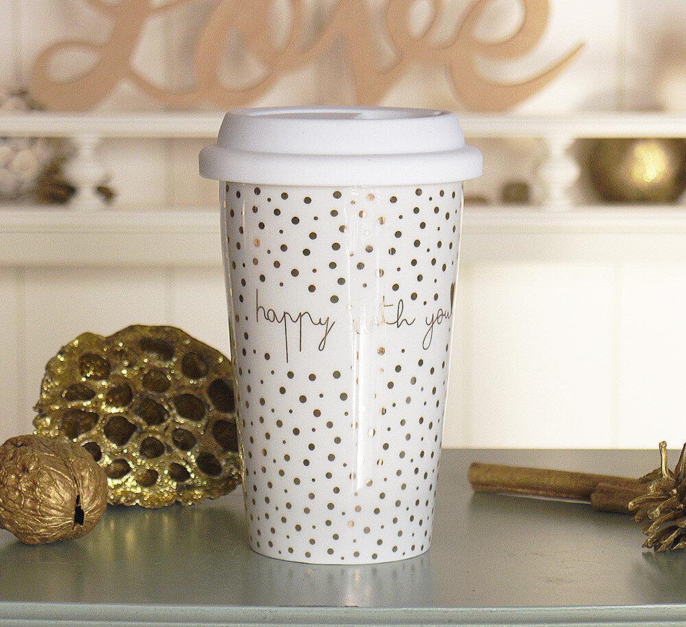 Чашка с крышкой золотая с Любовью керамика точка 1020340-2Т