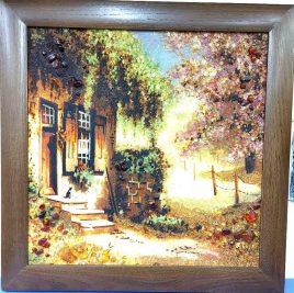 Пейзаж Дворик в деревянной широкой рамке П-344 40*40