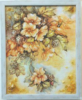 Натюрморт Ветка цветов с виноградом на холсте Н-274 40*50