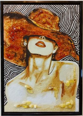 Дама в шляпе на холсте Р-91 30*40