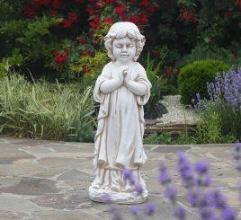 Садовая фигура Ребёнок молящийся стоя 35x25x72 см ССП12091-1 Крем