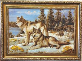 Панно Пара волков на снегу Т-396 40*60