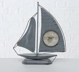 Настольные часы Парусник металл серый h40см 1021685-1С