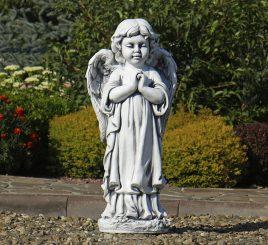 Садовая фигура Ангел молящийся стоя 35x25x72 см ССП12091 Серый