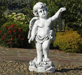 Садовая фигура Ангел с фонарем + LED 81х38х26 см ССП12208 Серый