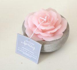 Декоративная свеча «Роза в горшке» розовый воск h6см 1014359-2Р