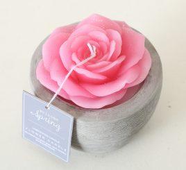 Декоративная свеча «Роза в горшке» тёмно-розовый воск h6см 1014359-3ТР