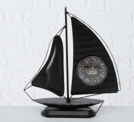Настольные часы Парусник металл чёрный h40см 1021685-2Ч