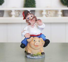 Копилка казак «На свинье» ZY12362-2-1М