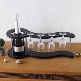 Набор для вина на 4 рюмки-Волна