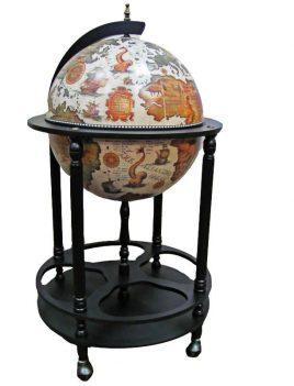 Глобус бар напольный на 4 ножки 420мм беж-черный Гранд Презент 42003W-В