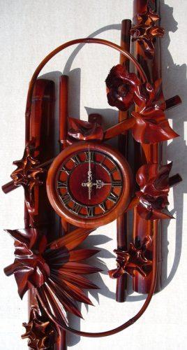 Часы из натуральной кожи и бамбука-Овал ЧК20