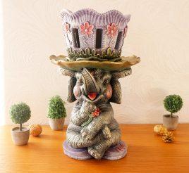 Слоник кашпо цветной гипс СГ023 цв
