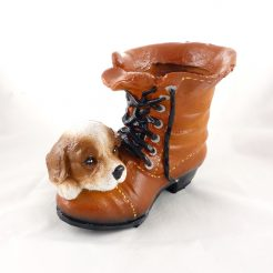 Кашпо сапог с собачкой (полистоун)